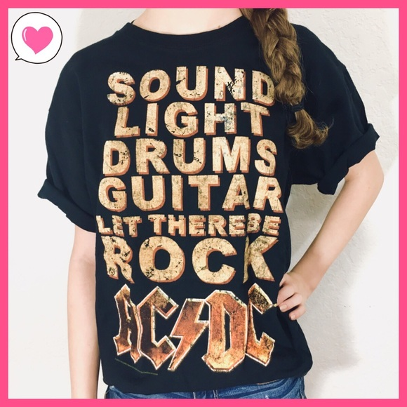 b470596ee Tops | Acdc Black Drums Rock Guitar Graphic Band Tee M | Poshmark